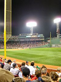 Pesky's Pole during a night game, September 2007