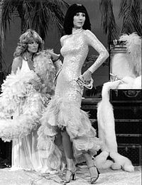 Cher (right) with Farrah Fawcett on The Sonny & Cher Comedy Hour