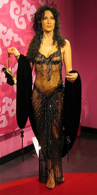 Wax figure of Cher draped in a recreation of the outfit she wore to the 60th Academy Awards in 1988