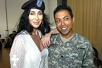 Cher during her July 12, 2006 visit at Landstuhl Regional Medical Center, Germany, which treats injured US military personnel serving in Afghanistan and Iraq