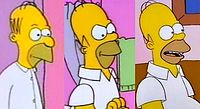 """Homer's design has been revised several times over the course of the series. Left to right: Homer as he appeared in """"Good Night"""" (1987), """"Bathtime"""" (1989), and """"Bart the Genius"""" (1990)."""