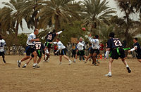 """""""The Baghdad Bowl"""" flag football game played in Iraq."""