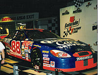 Dale Jarrett's 2000 Daytona 500 winning car on display at Daytona USA, taken January 2001