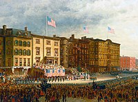 Edward Lamson Henry's Presentation of Colors, 1864, depicts the outfitting of two African-American regiments at the Union League Club of New York's first clubhouse on 17th Street, facing Union Square