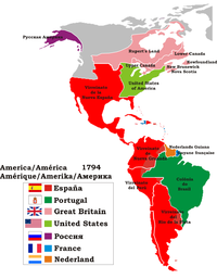 Political map of the Americas in 1794