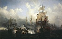 The British HMS Sandwich fires at the French flagship Bucentaure (completely dismasted) in the battle of Trafalgar. Bucentaure also fights HMS Victory (behind her) and HMS Temeraire (left side of the picture). HMS Sandwich did not fight at Trafalgar and her depiction is a mistake by the painter.