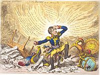 """""""Maniac-raving's-or-Little Boney in a strong fit"""" by James Gillray. His caricatures ridiculing Napoleon greatly annoyed the Frenchman, who wanted them suppressed by the British government."""