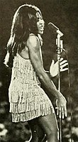 Tina performing on stage at Tulane Stadium in October 1970