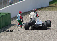 Villeneuve walks away from his crashed F1.06 at the 2006 German Grand Prix, his last F1 race.