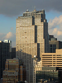 The Comcast Building in New York City (or the GE Building, originally the RCA Building; pictured in 2005), the headquarters of NBC