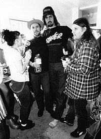 Novoselic with Kathleen Hanna, Bruce Pavitt, and Dylan Carlson at the Paramount Theater in Seattle on Halloween 1991
