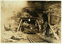 Entrance to mine shaft in West Virginia, photographed by Lewis Hine in 1908