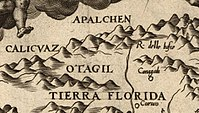 """Detail of Gutierrez' 1562 map showing the first known cartographic appearance of a variant of the name """"Appalachia"""""""