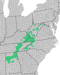 Map showing the 80 counties included in the 1982 report by the Appalachian Land Ownership Task Force