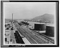 Storage tanks at the Institute plant along the Kanawha River in West Virginia, photographed late 1930s/early 1940s