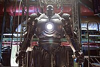 """The scale model of the """"Iron Monger"""" suit as seen in the film, based on the larger animatronic version built by Stan Winston Studios."""