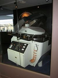 IMAX projector with horizontal film reel