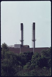 Same smokestacks in 1975 after the plant was closed in a push for greater environmental protection