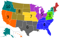 The administrative regions of the United States Environmental Protection Agency.