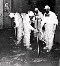 A clean-up crew working to remove radioactive contamination after the Three Mile Island accident.