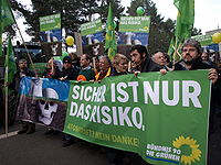 Anti-nuclear protest near nuclear waste disposal centre at Gorleben in northern Germany