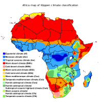 Climate zones of Africa, showing the ecological break between the hot desert climate of North Africa and the Horn of Africa (red), the hot semi-arid climate of the Sahel and areas surrounding deserts (orange) and the tropical climate of Central and Western Africa (blue). Southern Africa has a transition to semi-tropical or temperate climates (green), and more desert or semi-arid regions, centered on Namibia and Botswana.