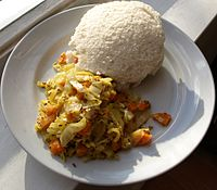 Ugali and cabbage.