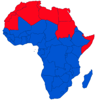 Red: Arab states in Africa (Arab League and UNESCO).