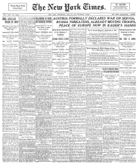 Front page of The New York Times on July 29, 1914, announcing Austria-Hungary's declaration of war against Serbia