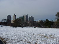 Atlanta's Piedmont Park with rare snowfall in winter