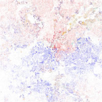 Map of racial distribution in Atlanta, 2010 U.S. Census. Each dot is 25 people: White, Black, Asian Hispanic , or Other (yellow)