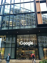 Entrance of building where Google and its subsidiary Deep Mind are located at 6 Pancras Square, London