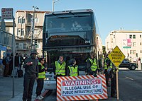 San Francisco activists protest privately owned shuttle buses that transport workers for tech companies such as Google from their homes in San Francisco and Oakland to corporate campuses in Silicon Valley.
