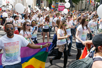 Google employees marching in the Pride in London parade in 2016