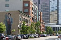 A mural memorializing Kurt Vonnegut stands on Mass Ave. The project was completed by local artist Pamela Bliss in 2011.