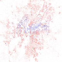 Map of racial distribution in Indianapolis, 2010 U.S. Census. Each dot is 25 people: White, Black, Asian , Hispanic or Other (yellow)