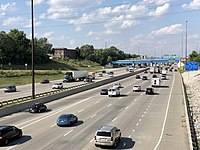 Interstates 65 and 70 run concurrently on the eastern perimeter of downtown Indianapolis.