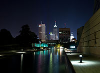 The Canal Walk portion of the Indiana Central Canal and Medal of Honor Memorial at night