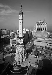 The Soldiers' and Sailors' Monument in 1970, the year Unigov was enacted