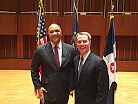 U.S. Representative for, André Carson (left) with Indianapolis Mayor Joe Hogsett in 2016.