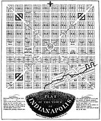 """Alexander Ralston's """"Plat of the Town of Indianapolis,"""" today known as the Mile Square"""