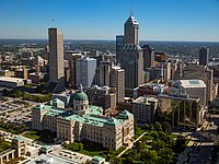 Downtown Indianapolis is the largest employment cluster in Indiana, with nearly 43000 /sqmi.