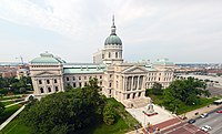 The Indiana Statehouse houses the executive, legislative, and judicial branches of state government.