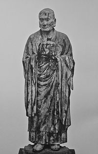 """Asanga, a 4th-century CE scholar and a co-founder of the Yogacara (""""Yoga practice"""") school of Mahayana Buddhism."""