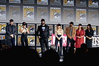 Feige, Shortland, and the main cast of Black Widow at the 2019 San Diego Comic-Con