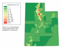 A map of Utah's population density, showing the long narrow Wasatch Front