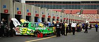 A Truck Series garage at Lowe's Motor Speedway in 2008