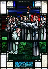"""Finnian of Clonard imparting his blessing to the """"Twelve Apostles of Ireland"""""""