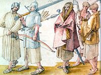 Gaelic Irish soldiers in the Low Countries, from a drawing of 1521 by Albrecht Dürer