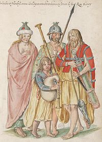 Irish Gaels in a painting from the 16th century